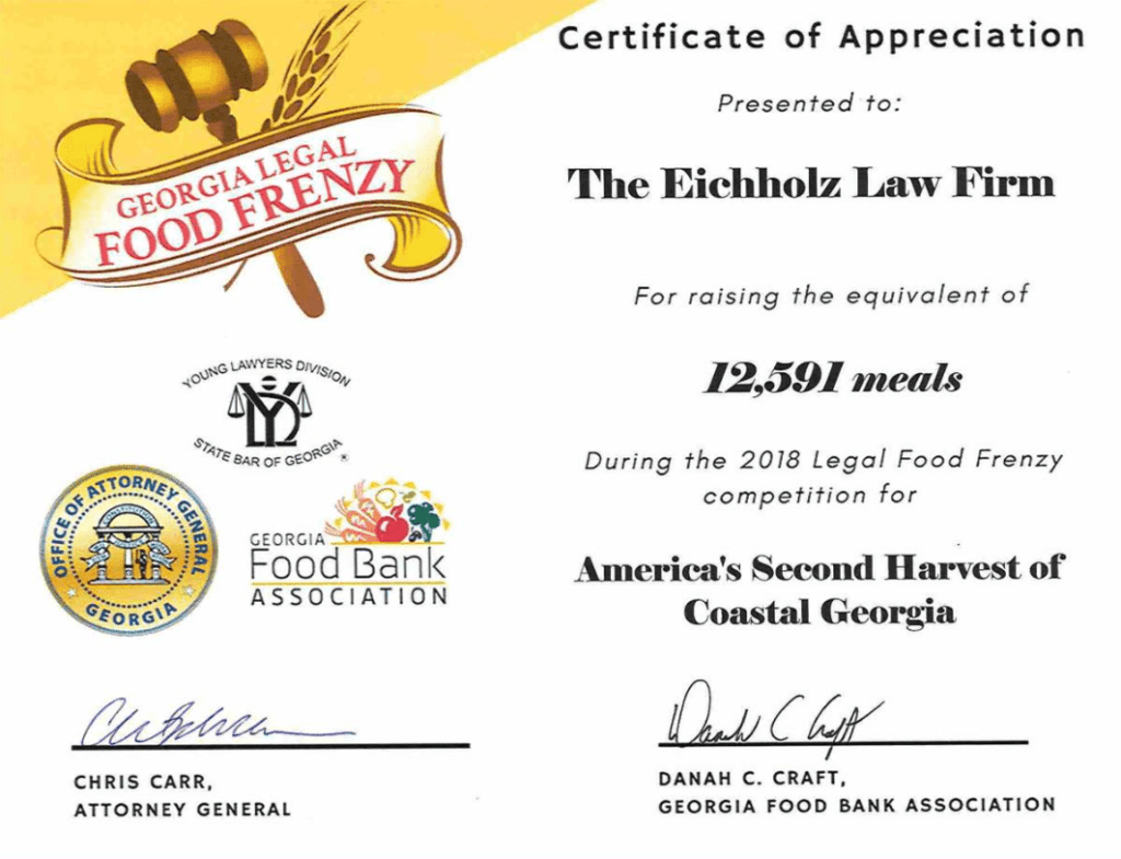 The Eichholz Law Firm Collects Non-Perishables for Georgia Legal Food Frenzy